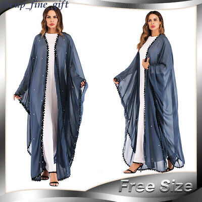 Women Lace Beaded Cardigan Arab Coat Dubai Ramadan Robe Muslim Dress Abaya Lot