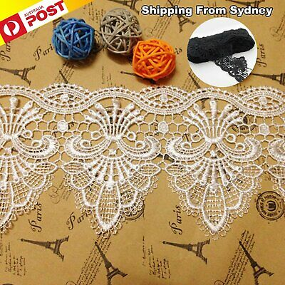 3M Vintage Flower Lace Fabric Trim Ribbon DIY Sewing Craft 10cm Wide Embroidered