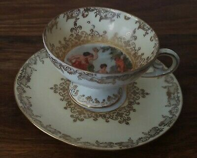 European ? Austrian antique cup saucer duo approx 80 + years old