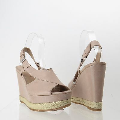 476962ee9281 Women s Via Spiga Shoes Taupe Leather Wedge Slingback Sandals Sz 8.5 M NEW   225