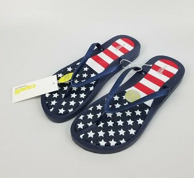 3c4f1b760 Capelli New York Ladies American Flag Flip Flops Faux Leather Navy Size 9