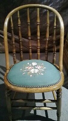Gorgeous Vintage Oak Chair Floral Embroidered Tapestry Seat