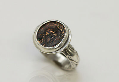 Sterling Silver Ring with Genuine Ancient coin, Roman Bronze. w/Cert - 034