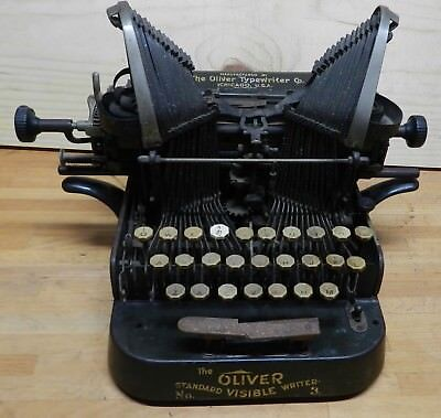 1906 Oliver visible typewriter model no-3 serial # 172933 for repair or parts