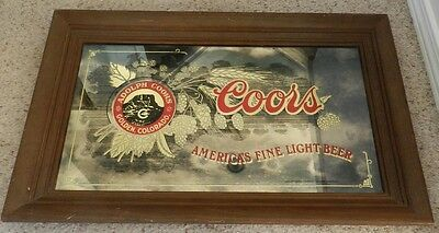 "Vintage Adolph COORS Beer ""Americas Fine Light beer"" mirrored Sign 22.5"" X 12.5"""