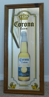 "Corona Extra mirror sign 10.5"" X 27.5"" wood frame"