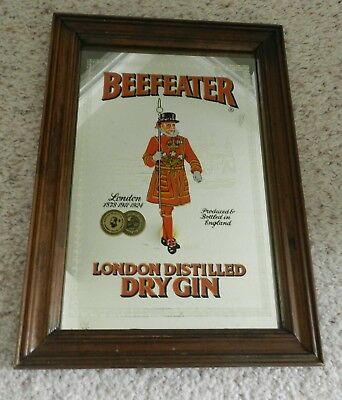 "Beefeater London Distilled Gin mirror sign 7.5"" X 11.5"" in wood frame"