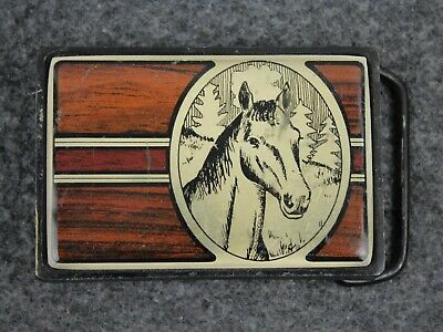 Vintage 80's 1984 Horse Outdoors  Solid Brass Nap Inc Belt Buckle