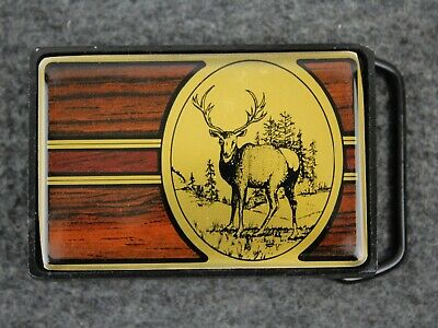 Vintage 80's 1984 Elk Forest Outdoors Solid Brass Nap Inc Belt Buckle