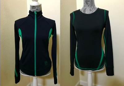 2 New Gilly Hicks Sport Women Full Zip Up Athletic Jacket S & Top XS Navy-Green