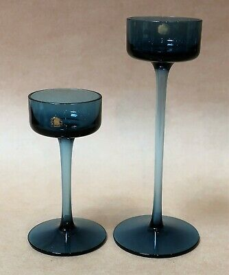 Beautiful Pair Of Wedgwood Blue Brancaster Art Glass Candlesticks