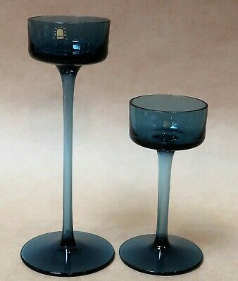 Lovely Pair Of Wedgwood Blue Brancaster Art Glass Candlesticks