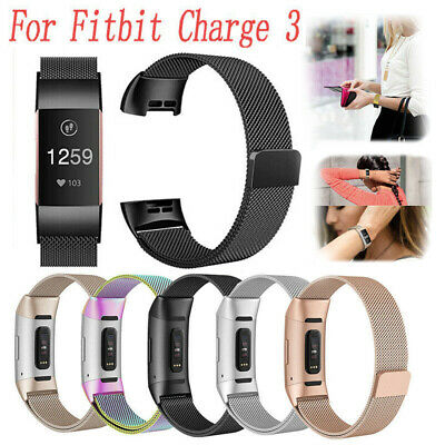 For Fitbit Charge 3 Strap Replacement Milanese Watch Wrist Band Stainless Magnet