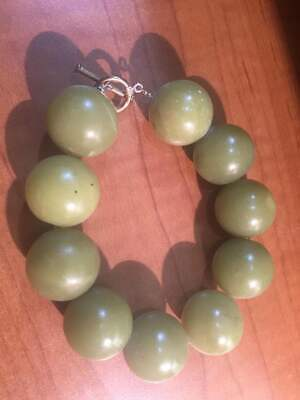 20mm Natural Rare Milky Green Jadeite Jade Hand Carved Beads Bracelet