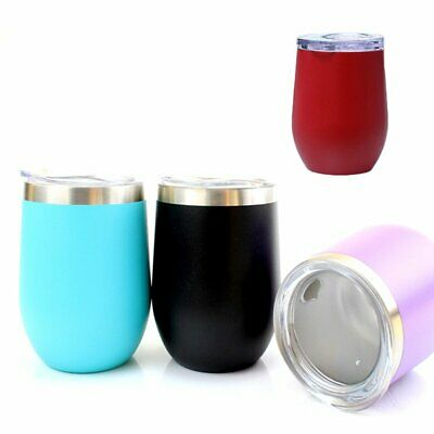 12oz Metal Stainless Steel Wine Tumbler Double Wall Insulated Rambler Cup TU