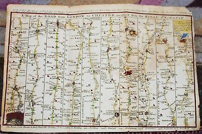 A Map of the Road from London to Chester , Royal Exchange, c1750 FREE SHIPPING