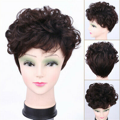 Women Top Aged Hair loss 100%Human Hair Short Wavy Curly Topper Hairpiece Toupee