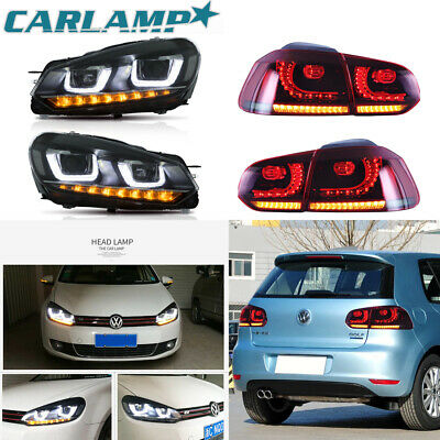 LED Headlights+Taillights For  2010-2014 VW Volkswagen Golf 6 MK6 GTI 2 x Sets