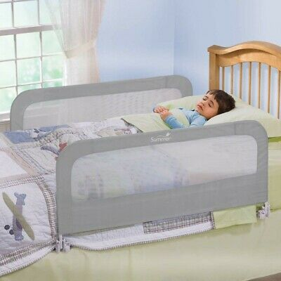 Bed Rails For Kids Toddlers Guard Toddler Infant Child Safety Net 2 Pack, Grey