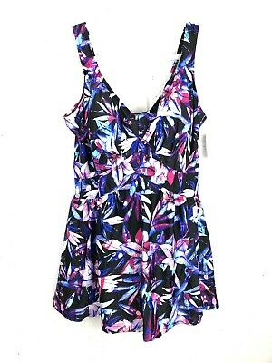 e4c4410c10 Le Cove Multi-Colored Floral One-Piece Swimdress Size 24W - New With Tags