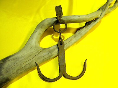 Antique Blacksmith Hand Forged Iron Double Hook, Total Length: 10.2 inch, 386 g