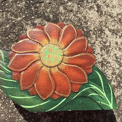"COUNTRY WILDFLOWER ""Brown"" Novelty Shaped Floral Wooden Napkin Holder"