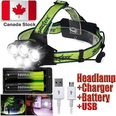 90000LM Headlamp 5x T6 LED Headlight with 18650 Battery & Dual Smart Charger CA