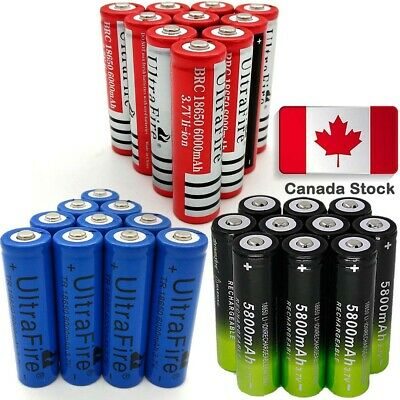 10* 6000mAh 18650 Battery Batteries 3.7V Rechargeable Smart Charger Skywolfeye