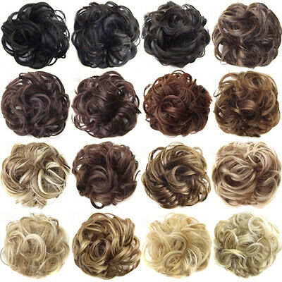 Real Natural Curly Messy Bun Hair Piece Scrunchie New Fake Hair Extensions Call