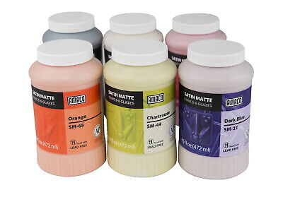 AMACO Satin Matte Glaze Classroom Pack 1, Assorted Colors, Set of 6 Pints
