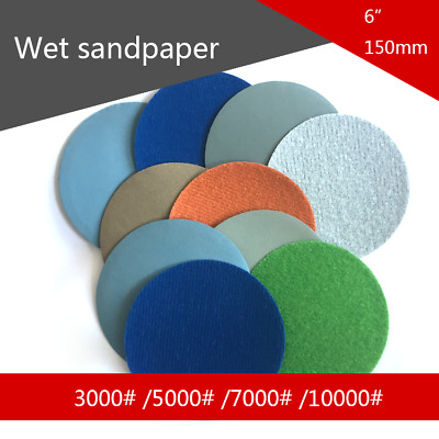 "6"" Wet Dry Sandpaper Waterproof Hook & Loop Sanding Discs Mirror Polishing Paper"