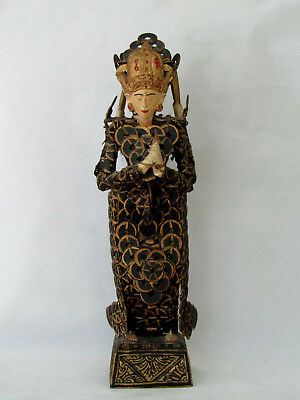Hand Carved Balinese Kepeng Dewi Sri Rice Goddess Statue w/ Cash Chinese Coins