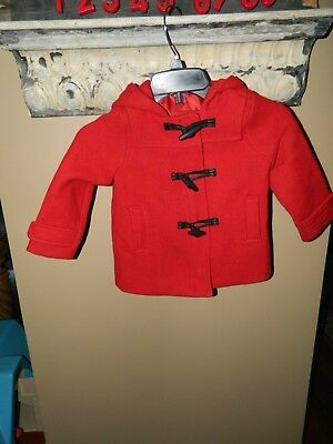 Baby Gap Girls Red Wool Blend Coat With Hood Toogle Zip Up Size 4 years