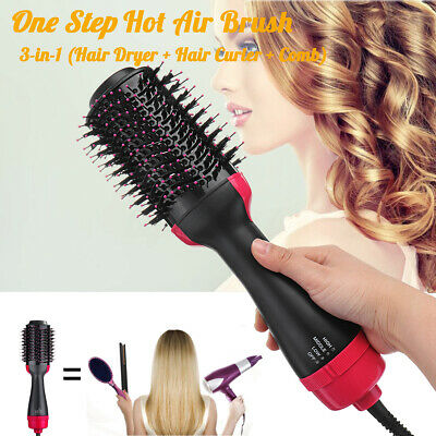 3 in 1 1000W Hot Air Hair Blow Dryer Brush Roll  Massag Comb Hair Styling Tool