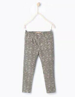 Zara Girls White Grey Checked Corduroy Trousers Jeggings Size 5 Years