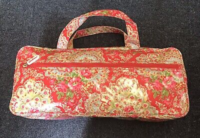 Cath Kidston Knitting Bag Red With Flowers Zips Very Good Condition