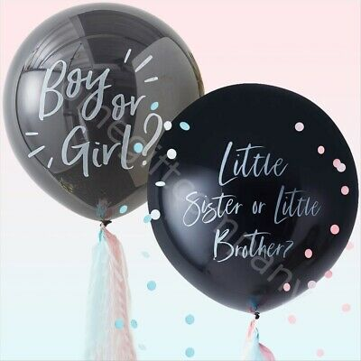 "Large 36"" Black Gender Reveal Balloons Oh Baby Boy Girl Giant Confetti Balloons"