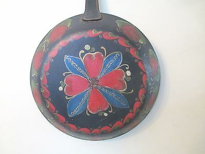 folk art FRYING PAN painted SKILLET Pennsylvania Dutch HUGE tole-ware LARGE old!