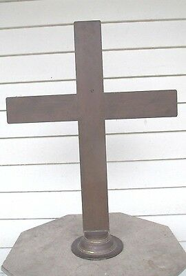 BRASS primitive ALTER CRUCIFIX solid INDUSTRIAL AGE steampunk MODERN early 1900s