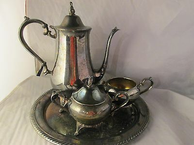 5 pс VTG WM ROGERS COFFEE TEA SET SILVERPLATE TEAPOT TRAY CREAMER SUGAR W LID