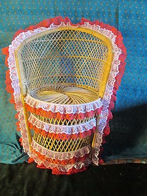 Vintage Wicker Rattan Childs PEACOCK CHAIR PHOTO PROP 22 INS HIGH 11 INS DEEP
