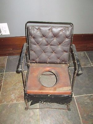 Antique Vintage Folding Metal Leather Potty Chair Wood Seat Victorian