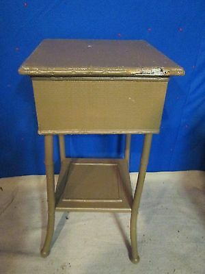 Antique Burnt Bamboo/wicker furniture lift top sewing/side table/plant stand