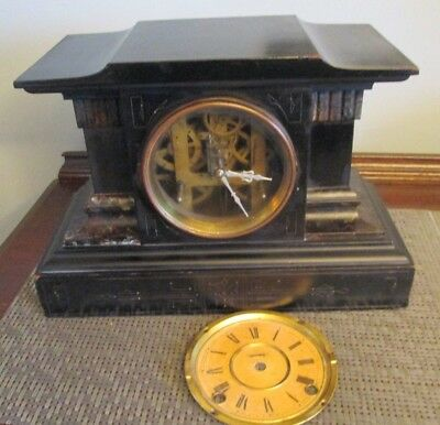 1885 Antique INGRAHAM  8-Day MANTEL cathedral CHIME CLOCK ballad  no key
