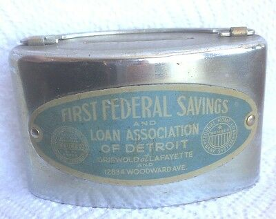 Oval Shape Still Bank FIRST FEDERAL SAVINGS vintage Good Strong Paint