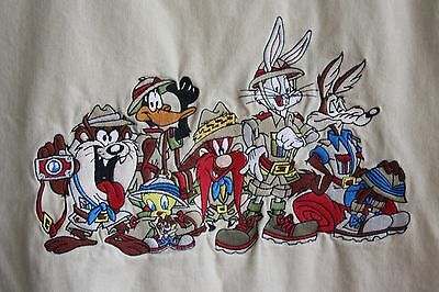 90's Vtg Acme Clothing Embroidered Taz Tweety Bugs Bunny Hunting Khaki Vest L/XL