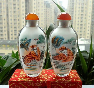 1pc Chinese Collectible Hand-painted Inside painted tiger glass Snuff Bottle