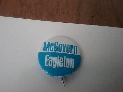 Vtg. 1972 McGovern Eagleton DNC DEMOCRATIC PARTY Political Pin Blue & White