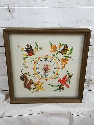 "Vintage Wood Framed 15"" Glass Door Needlepoint Bird/Butterfly Display Case Clock"