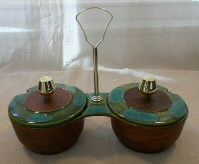 Vtg California Pottery Sequoia Ware Covered Condiment Server With Handle (115)